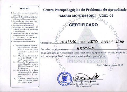 Centro Psicopedagógico de Problemas de Aprendizaje ``María Montessori``